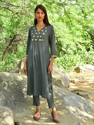 Charcoal Hand Embroidered Modal Kurta and Pants (Set Of 2)
