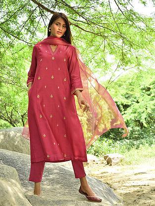 Pink Hand Embroidered Silk Cotton Kurta and Pants (Set Of 2)