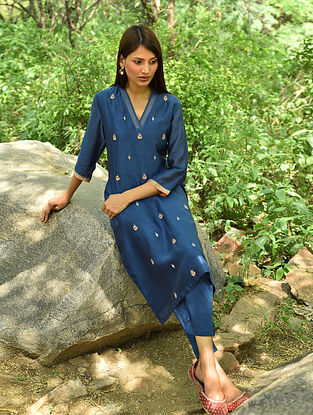 Indigo Hand Embroidered Silk Cotton Kurta and Pants (Set Of 2)