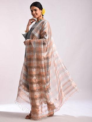 Silver Mockleno Weave Handwoven Tussar Dupatta