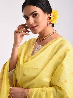 Yellow Chanderi Handwoven Silk Cotton Dupatta