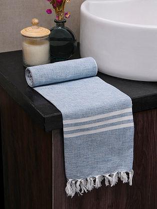 Blue Cotton Gamcha Bath Towel (L-60in, W-31in)