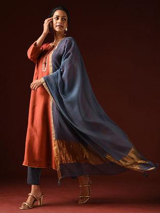 Indigo Silk Cotton Dupatta with Zari and Tassels