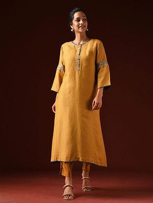Mustard Hand Embroidered Viscose Linen Kurta And Pants (Set of 2)