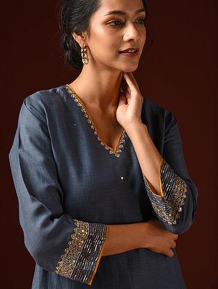 Indigo Hand Embroidered Viscose Linen Kurta And Pants (Set of 2)