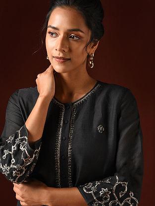 Black Hand Embroidered Viscose Linen Kurta And Pants (Set of 2)