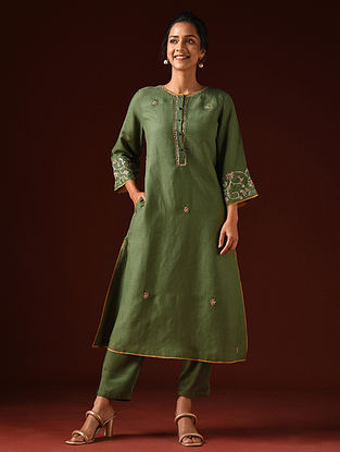Olive Hand Embroidered Viscose Linen Kurta And Pants (Set of 2)