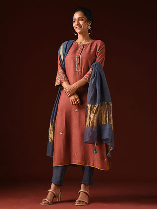 Red Hand Embroidered Viscose Linen Kurta And Pants (Set of 2)
