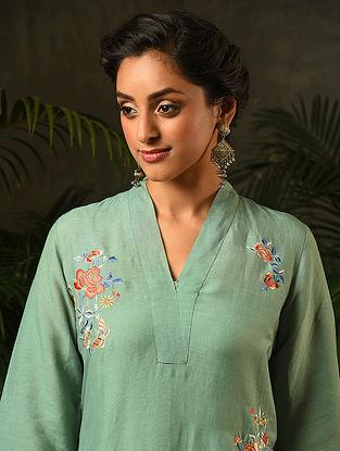 Green Embroidered Viscose Linen Kurta
