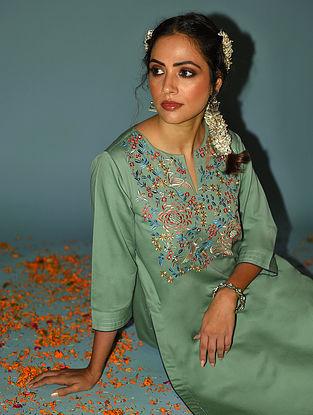 Green Embroidered Cotton Kurta