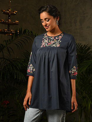 Blue Embroidered Cotton Top