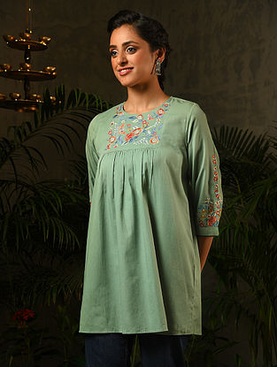 Green Embroidered Cotton Top