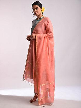Pink Chanderi Handwoven Silk Cotton Dupatta