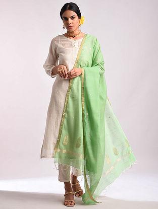 Green Chanderi Handwoven Silk Cotton Dupatta