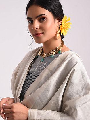 Silver Maheshwari Handwoven  Tissue Silk Dupatta