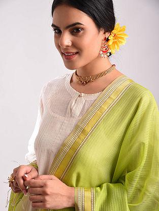Green Maheshwari Handwoven Silk Cotton Dupatta