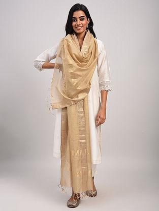 Beige Handwoven Maheshwari Silk Cotton Dupatta
