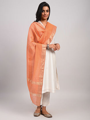 Orange Handwoven Maheshwari Silk Cotton Dupatta