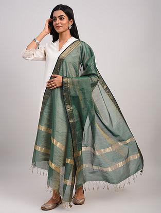 Green Handwoven Maheshwari Silk Cotton Dupatta