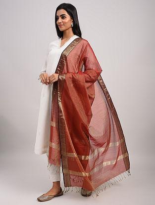 Red Handwoven Maheshwari Silk Cotton Dupatta