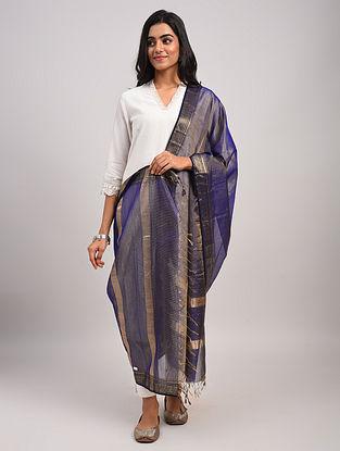 Blue Handwoven Maheshwari Silk Cotton Dupatta