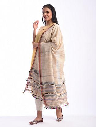 Beige Bhujodi Handwoven Silk Cotton Dupatta
