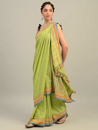 Green Handwoven Bhujodi Cotton Saree