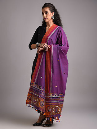 Purple Lambani Embroidered Handloom Mangalgiri Cotton  Dupatta