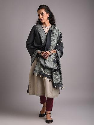 Grey Lambani Embroidered Handloom Mangalgiri Cotton  Dupatta