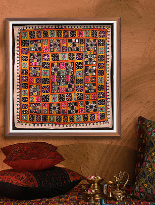 Vintage Embroidered and Embellished Chakla (L - 20.5in, W - 20.5in)