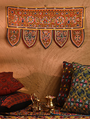Vintage Embroidered and Embellished Toran (L - 26in, W - 14in)