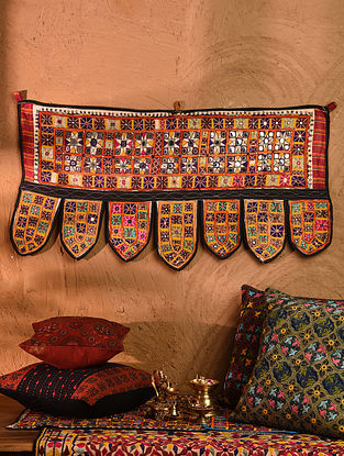 Vintage Embroidered and Embellished Toran (L - 38in, W - 18in)