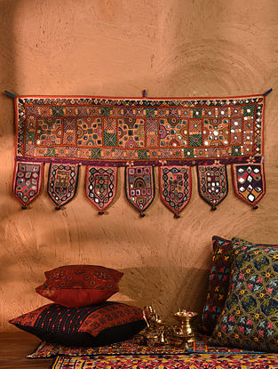 Vintage Embroidered and Embellished Toran (L - 38in, W - 17.5in)