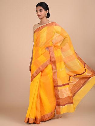 Yellow Handloom Maheshwari Saree