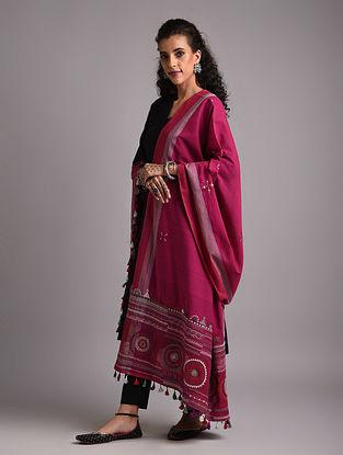 Pink Lambani Embroidered Handloom Mangalgiri Cotton Dupatta