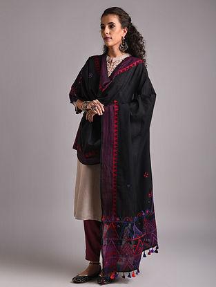 Black Lambani Embroidered Handloom Mangalgiri Cotton Dupatta