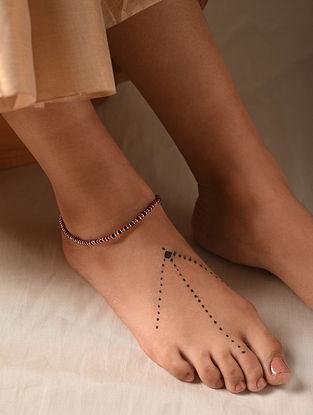 Red Black Tribal Silver Nazariya Anklet