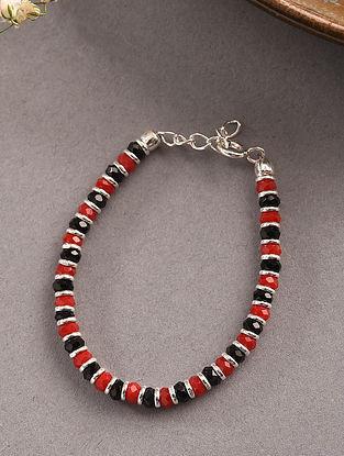 Red Black Tribal Silver Nazariya Bracelet for Kids