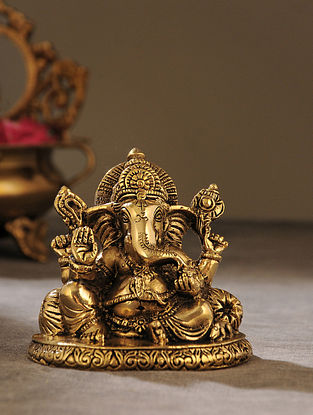 Brass Handcrafted Seated Ganesha (L - 2.5in, W - 4in, H - 3.5in)