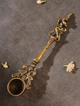 Brass Handcrafted Krishna Spoon (L - 10in, W - 2.2in, H - 1in)