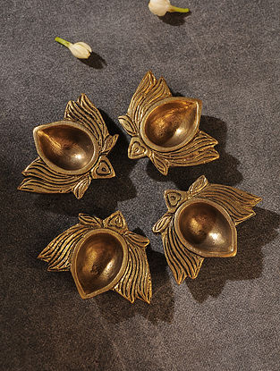 Brass Handcrafted Lotus Diya (Set of 4) (L - 2in, W - 2.3in)