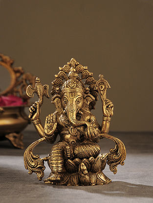 Brass Handcrafted Seated Ganesha (L - 4in, W - 5.5in, H - 6.5in)