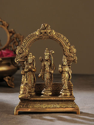 Brass Handcrafted Ram Darbar (L - 2.5in, W - 4.5in, H - 6.5in)