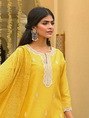 Mustard Silk Cotton Kiran Dori Embroidery Kurta with Pants and Dupatta (Set Of 4)