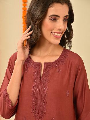 Red Silk Cotton Kiran Dori Embroidery Kurta with Pants and Dupatta (Set Of 4)