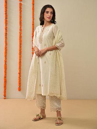 Ivory Silk Cotton Kiran Dori Embroidery Kurta with Pants and Dupatta (Set Of 4)