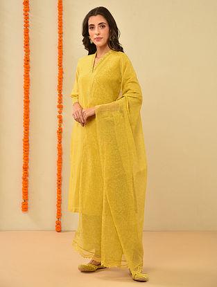 Mustard Silk Cotton Kiran Dori Embroidery Kurta with Pants and Dupatta (Set Of 3)