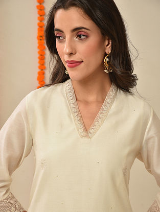 Ivory Silk Cotton Kiran Dori Embroidery Kurta with Pants and Dupatta (Set Of 3)