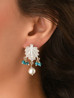 Tribal Chinar Silver Earrings with Pearls and Turquoise