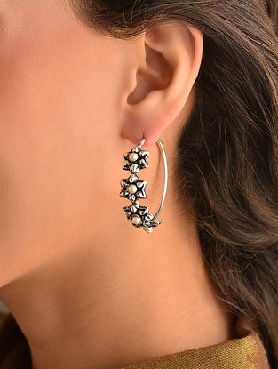 Tribal Dogri Silver Earrings with Pearls